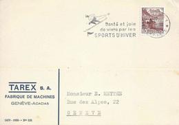 """Motiv Karte  """"Tarex, Fabrique De Machines, Genève Acacias""""              1942 - Covers & Documents"""