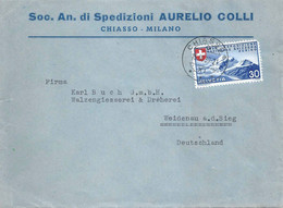 "Motiv Brief  ""Spedizioni Aurelio Colli, Chiasso/Milano""              1939 - Storia Postale"