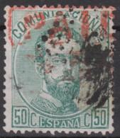 1872 Edifil 126 50 C. PAID Ingles En Rojo - Usados