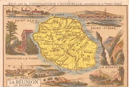 Chromos.AM14607.6x9 Cm Environ.Chocolat Aiguebelle.N°99.Carte La Réunion.Saint Denis.Saint Pierre.St-Paul.La Bernica... - Aiguebelle