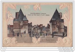 86) CHATELLERAULT (Vienne) Tours Du Pont Henri IV (XVI° Siècle) - (Carte Gaufrée -  Animée - Attelage Cheval) - Chatellerault