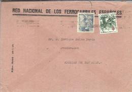 CARTA 1951  RENFE  GOMIGRAFO AL DORSO - 1951-60 Cartas