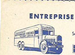 Facture Illustrée Camion / 88 GOLBEY / Transports Et Déménagements BETTINGER - Automobil