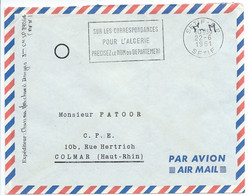 ENVELOPPE / FRANCHISE MILITAIRE 1961 / SETIF RP ALGERIE POUR COLMAR / SP 89064 - Military Postmarks From 1900 (out Of Wars Periods)