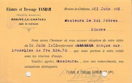 Braine-le-Château , Carte Publicitaire Entier Postal De 1913 , Filature Et Tressage  Vanham , Gare De Niderand ( Tubize - Braine-le-Chateau