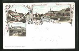 Lithographie Strassgang, St. Martin, Ortspartie Mit Kirche - Ohne Zuordnung