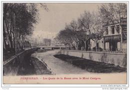 DA11- 66)  PERPIGNAN - Les Quais De La Basse Avec Le Mont Canigou  - (Editeur Couderc - 2 Scans) - Perpignan
