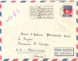 LE PORT LA REUNION OMec SECAP 1-7-1968 LE PORT REUNION / VILLE D'AVENIR Sur BLASON PARIS Surcharge 15f CFA YT 350A - Covers & Documents