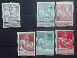BELGIE  1910    Restlotje  Nrs. 92 - 96 - 98 - 95 - 97 En 99    Zie Foto   Spoor Van Scharnier *       CW 190,00 - 1910-1911 Caritas