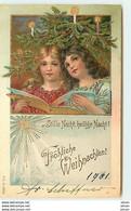 N°14679 - Carte Gaufrée - Fröhliche Weihnachten - Stille Nacht Heilige Nacht - Fillettes Lisant - Autres
