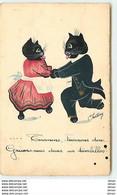 N°12454 - Chattery - Tournons, Tournons Donc ... Un Tourbillon - Chats Noirs Habillés Dansant - Animales Vestidos