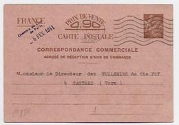 ENTIER 90C CARTE CORRESPONDANCE COMMERCIALE PARIS 1941 - Standard Postcards & Stamped On Demand (before 1995)