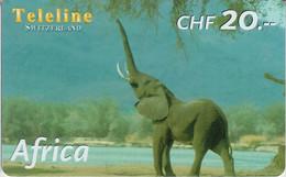 SWITZERLAND - PHONE CARD - PRÉPAYÉE TELELINE  ***  AFRICA 2/10 - ELEPHANT *** - Jungle