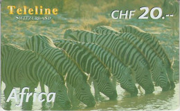 SWITZERLAND - PHONE CARD - PRÉPAYÉE TELELINE  ***  AFRICA 3/10 - ZEBRE *** - Jungle