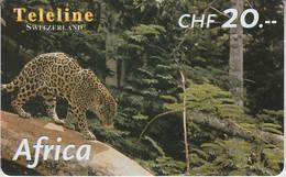 SWITZERLAND - PHONE CARD - PRÉPAYÉE TELELINE  ***  AFRICA 5/10 - LEOPARD *** - Jungle