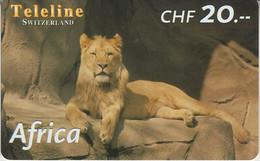 SWITZERLAND - PHONE CARD - PRÉPAYÉE TELELINE  ***  AFRICA 7/10 - LIONNE *** - Jungle