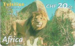 SWITZERLAND - PHONE CARD - PRÉPAYÉE TELELINE  ***  AFRICA 8/10 - LION *** - Jungle