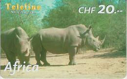 SWITZERLAND - PHONE CARD - PRÉPAYÉE TELELINE  ***  AFRICA 9/10 - HIPPOPOTAME *** - Jungle