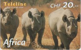 SWITZERLAND - PHONE CARD - PRÉPAYÉE TELELINE  ***  AFRICA 10/10 - HIPPOPOTAME *** - Jungle