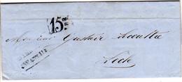 Schweiz 1857, Portostpl. 15cts Auf Brief V. Bienne N. Locle - Sin Clasificación
