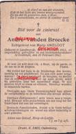 OORLOG GUERRE Andre Vanden Broecke  Zandvoorde Oostende Gesneuveld Bombardement 28 Feb 1942 Ameloot - Imágenes Religiosas
