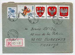 - Lettre Recommandée KRAKOW (Pologne) Pour SURESNES (France) 17.11.1993 - Bel Affranchissement Philatélique - - Covers & Documents