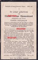 OORLOG GUERRE Oscar Beaumont Bredene GESNEUVELD Bij De Terugtocht Van De Duitsers 18 Okt 1918 Oostende - Imágenes Religiosas