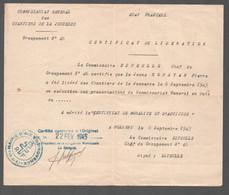 1945 DUPLICATA CERTIFICAT DE LIBERATION / CHANTIERS DE JEUNESSE GROUPEMENT 46 SUFFREN / MAIRIE AIX EN PROVENCE   C2847 - Historical Documents
