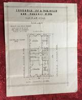 Immeuble à Marseille 376 Rue Paradis Planche Plan Technique Architecture 2/3é étage-☛Document Historique Felix Mouren - Architecture