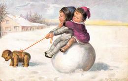ENFANT Et ATTELAGE D' OURS EN PELUCHE Sur NEIGE / CHILD And TEDDY BEAR On SNOW -  SIGNED : W. FIALKOWSKA ~ 1920 (ah753) - Fialkowska, Wally