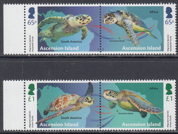 2018 Ascension Turtles Migration  Complete Set Of 2 Pairs MNH @ Below Face Value - Ascension