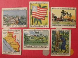 Lot 6 Images Chocolat Pupier. Album Afrique 1950. Libéria Caoutchouc Monrovia Carte Drapeau - Other