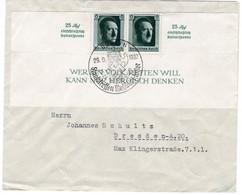 Brief Deutsches Reich Mit Halbem Block 9 Aus Berlin Mit Propaganda Stempel Staatstreffen Mussolini Hitler - Sin Clasificación