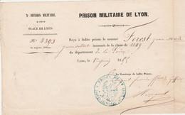 1855 - PRISON MILITAIRE De LYON - Reçu Jean FOREST, Jeune Soldat INSOUMIS - 5° Division Mre - Place De Lyon - Documenti Storici