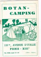 Catalogue Publicitaire BOTAN - CAMPING Paris Les Articles De Plein - Air Années 50 - Werbung
