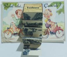 "10885 Cartolina Illustrata Salut Bebè..Toulouse - 10 Vedutine A ""fisarmonica"" - Gruss Aus.../ Gruesse Aus..."