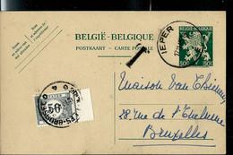 Entier N° 137.I.FN. - V De La Victoire - Obl. IEPER  - E - Du 17/11/45 Taxé Bxl - Lettres