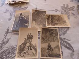 P-401 , Lot De 5 Photos Et Cartes-Photo, Alpinisme, Alpinistes , Cordée, Piolet, Sommet - Sports