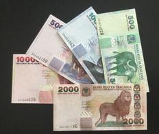 TANZANIA SET 500 1000 2000 5000 10000 SHILLINGS BANKNOTES (2003-2006) UNC Lion, Rhino, Elephant, Buffalo - Tanzania