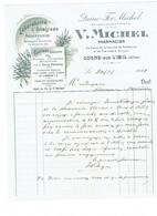 Correspondance Cachet Pharmacien V. MICHEL - COSNE SUR L'OEIL - Allier - Produits Vétérinaires - 1918 - Seals Of Generality