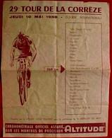 Rare Tract 10 MAI 1956 CYCLISME 29 ° TOUR DE LA CORREZE , COURSE VELO INTERNATIONALE , Départ Tulle , 260 Km CHRONO - Advertising