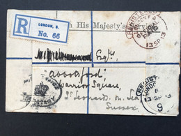 GB 1913 OHMS Registered London Cover - Official Paid - Covers & Documents