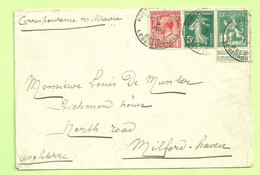 MIXTE Frankeering Belgisch/Franse/Engels Zegels Op Brief Stempel PMB Op 11/10/15 Naar Milford (England)  (B6485) - Army: Belgium