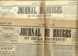 2x - JOURNAL DE BRUGES Et De La Province - Quotidien Libéral : N° 245 DU 2-9-1886 Et 275 Du 14-15 Novembre 1909 - Unclassified