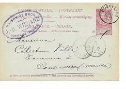 222REF/ Entier CP 10c FB Perforé J.B.W. C.J.B.Wiegand Maison De Gros C.Gosselies 27/6/1903 > Consenvoie (Meuse) France - Altri