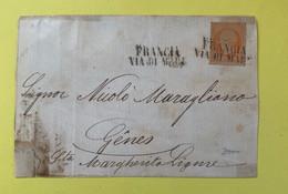 France N°16 Y Et T Sur Lettre Oblitéré Vers Gènes Griffe Linéaire Francia Via Di Mare Marcophilie - 1853-1860 Napoleon III