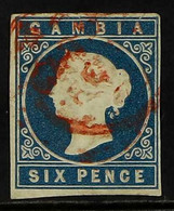 """1869-72 6d Blue """"embossed"""", No Wmk, Imperf, SG 3a, Four Clear Margins, Used With Tiny Hinge Thin. For More Images, Pleas - Gambia (...-1964)"""