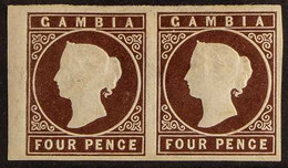 1874 4d Brown, Watermark Crown CC, Imperf, HORIZONTAL PAIR, SG 5, Mint, Large & Even Margins On All Sides. For More Imag - Gambia (...-1964)