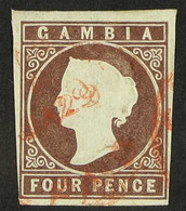 1874 4d Brown Imperf, Wmk Crown CC, SG 5, Used, Four Clear To Large Margins And Neat Red Cancel. For More Images, Please - Gambia (...-1964)