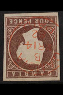 1874 VARIETY. 4d Brown, CC Wmk, Imperf With WATERMARK INVERTED Variety, SG 5w, Superb Used With Four Good To Large Margi - Gambia (...-1964)
